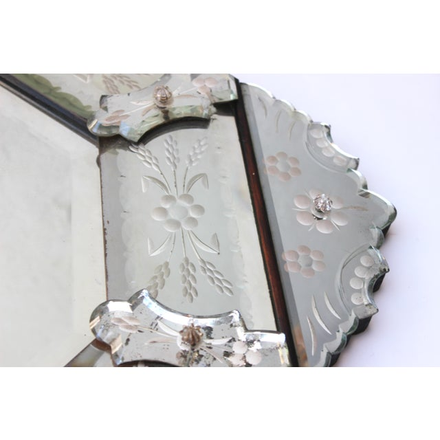 Venetian Style Glass Mirror For Sale - Image 4 of 12