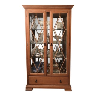 Pine and Glass Lighted Display Cabinet For Sale