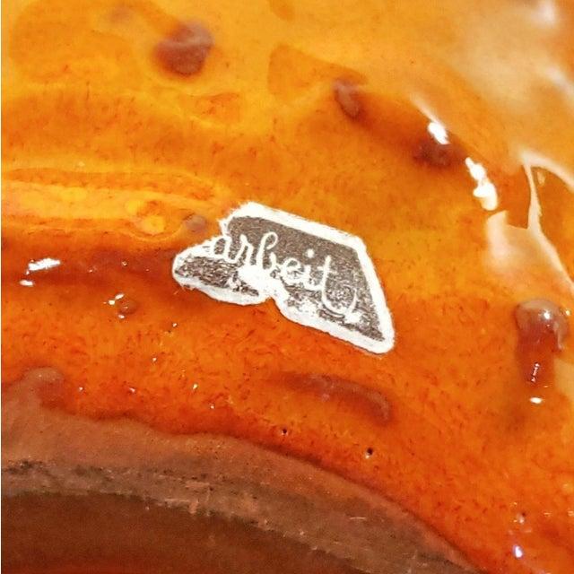 "1960s Kreutz Keramik Orange/Black Fat-Lava Jug Vase 201 (9.3"") For Sale - Image 10 of 13"