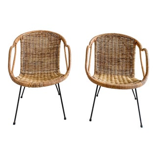 Paul McCobb Calif-Asia Rattan and Bamboo Chairs - a Pair For Sale