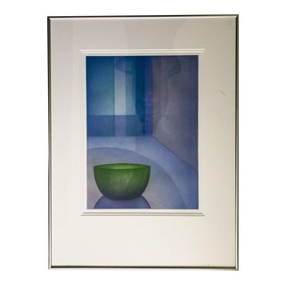 Green Bowl Painting by Martin Lane, Signed and Framed