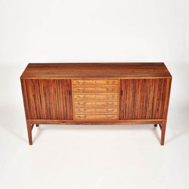 Chippendale Danish Ole Wanscher Tambour Cabinet, 1960s For Sale - Image 3 of 8