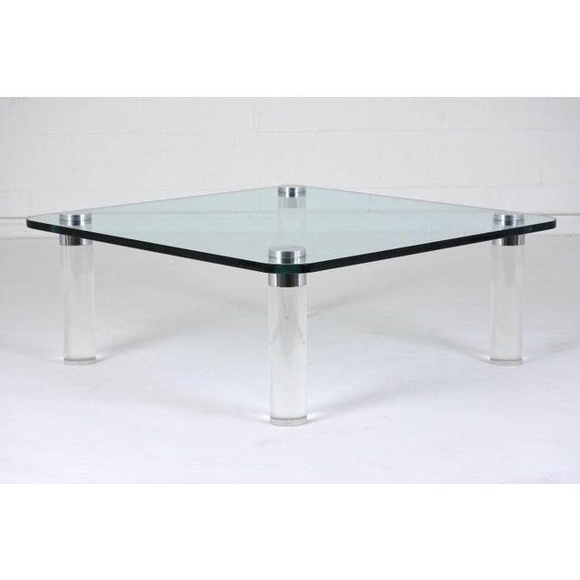 Chrome Mid-Century Modern-style Lucite Coffee Table For Sale - Image 7 of 7