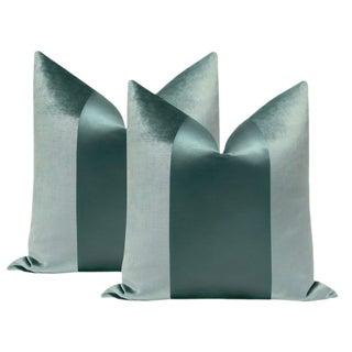 "22"" Turkish Blue Velvet & Silk Panel Pillows - a Pair For Sale"