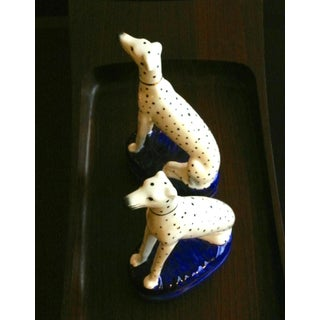 Fitz Floyd White Gilt Decorated Porcelain Dalmatian Bookends - a Pair Preview