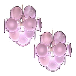1970s Italian Disc Chandeliers by Vistosi - a Pair For Sale