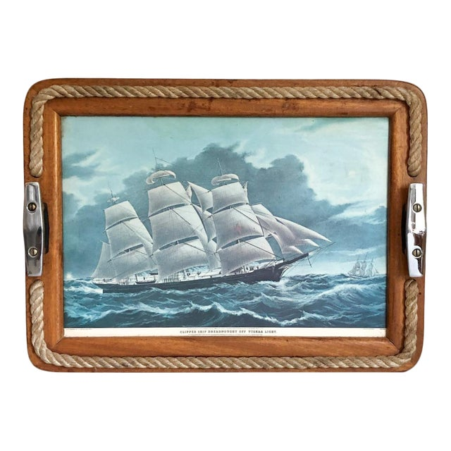Nautical Serving Tray With Cleat Handles Barware For Sale