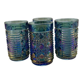 1960s Vintage Fenton Carnival Glass Blue Iridescent Tumblers - Set of 4 For Sale