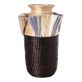 Fanned Out Small Tall Vase Flax / Chocolate & Smoke Fans For Sale