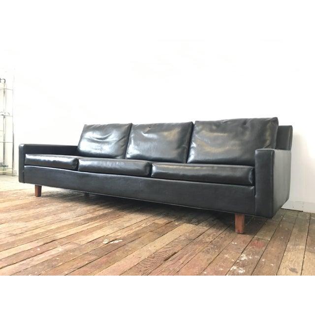 On Hold - Mid Century Black Naugahyde Sofa - Image 3 of 8