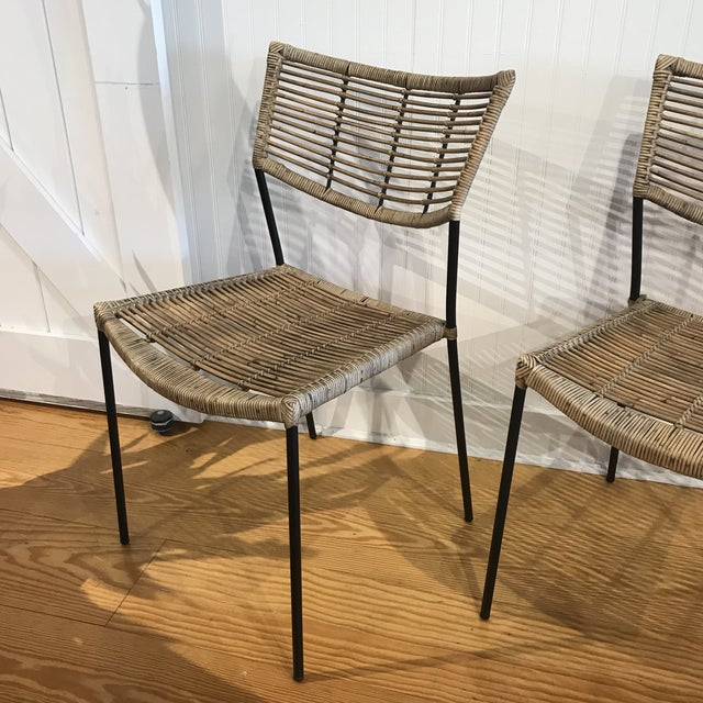 Boho Chic Modern Rattan and Wrought Iron Dining Side Chairs- 2 Left For Sale - Image 3 of 11
