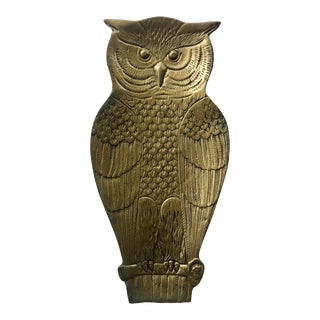 Mid Century Brass Owl Tray Wall Art Accent