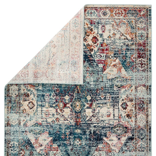"""Contemporary Jaipur Living Farra Indoor Outdoor Medallion Multicolor Blue Runner Rug 2'6""""X8' For Sale - Image 3 of 7"""