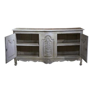 18th Century French Louis XV Carved Painted Buffet For Sale