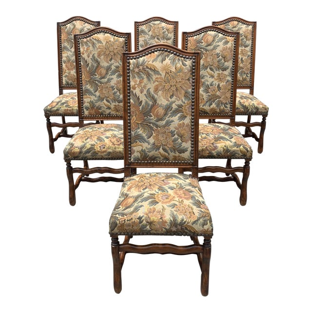 1900s French Country Louis XIII Style Os De Mouton Dining Chairs - Set of 6 For Sale