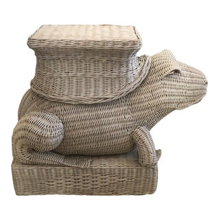 Vintage Wicker Frog Side Drinks Table For Sale
