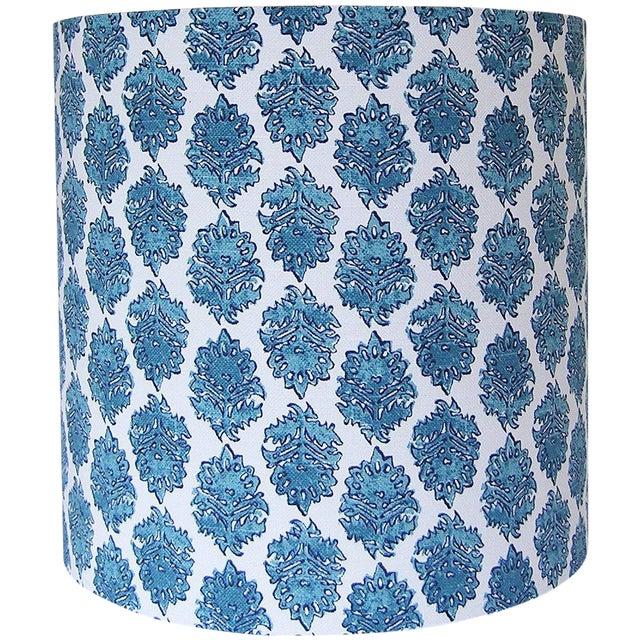 Boho Chic Aqua Drum Lamp Shade For Sale - Image 3 of 3