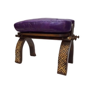 Handmade Moroccan Leather Bench For Sale