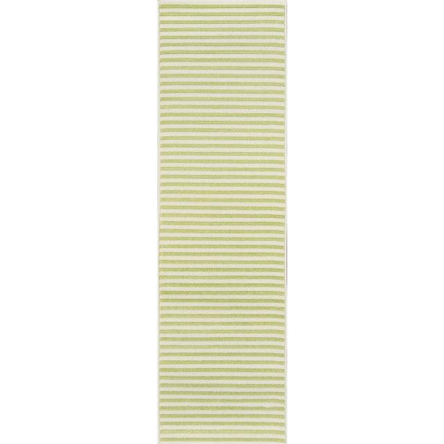 "Momeni Baja Green Stripe Indoor/Outdoor Rug - 7'10"" X 10'10"" For Sale - Image 4 of 6"