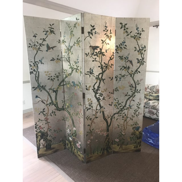 Silver Chinoiserie Decorative Crafts Hand Painted Silver Screen For Sale - Image 8 of 10