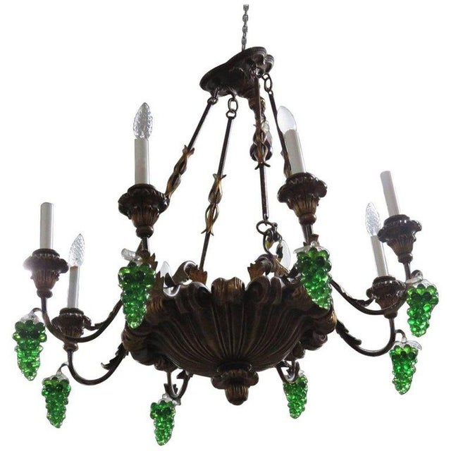 Green Italian Tole and Crystal Chandelier For Sale - Image 8 of 8