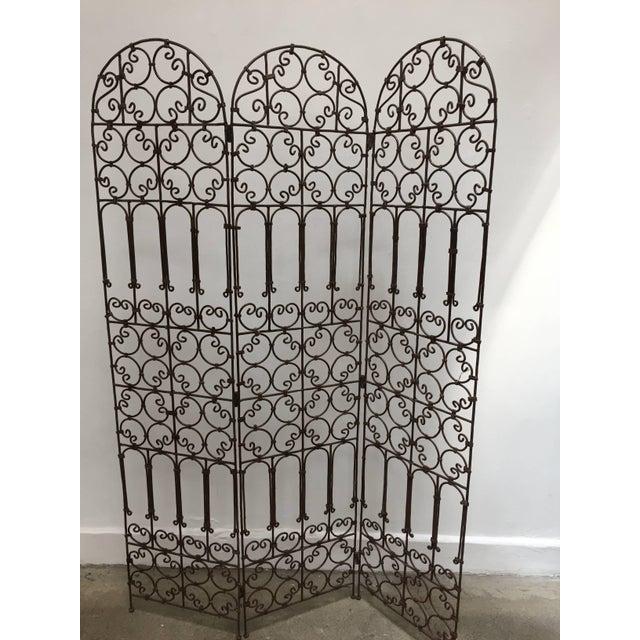 Hand-Forged Iron Three Panels Folding Moorish Screen For Sale - Image 9 of 9