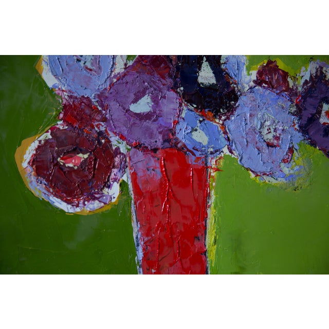 """Abstract Bill Tansey """"Brown Table"""" Abstract Floral Painting Oil on Canvas For Sale - Image 3 of 4"""