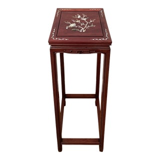 Chinese Rosewood Mother of Pearl Inlay Square Stand Pedestal Table For Sale