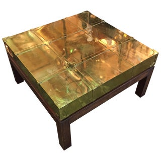 1970s Vintage Brass Coffee Table by Sarreid For Sale