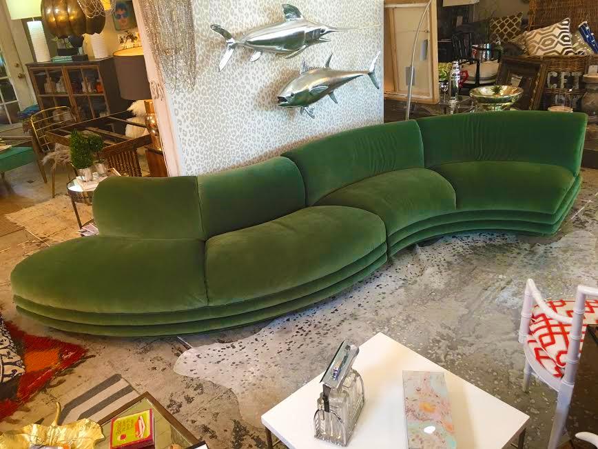 Ordinaire Bernhardt Custom S Shaped Moss Green Velvet Sofa   Image 5 Of 7