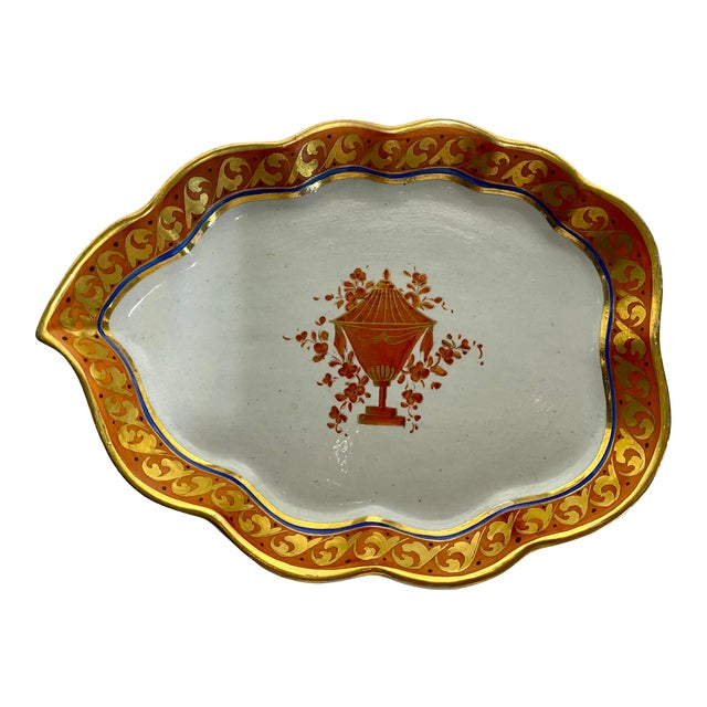 19th Century Red Orange & Gold Handmade Hand-Painted Ceramic Pottery Catchall Dish For Sale