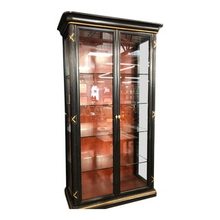 Vintage Rose Tarlow Melrose House Black & Gold Vitrine Showcase Cabinet W Red Interior For Sale