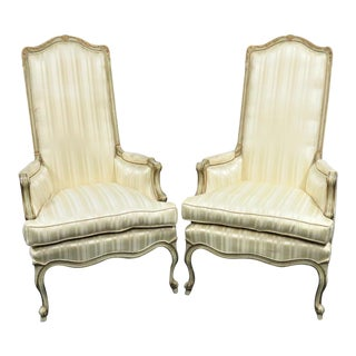 Louis XV Tall Back Cream Bergeres - a Pair For Sale