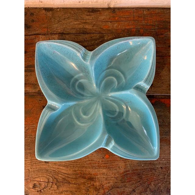 Aqua 1960s Pottery Star Flower Ashtray in Aqua For Sale - Image 8 of 8