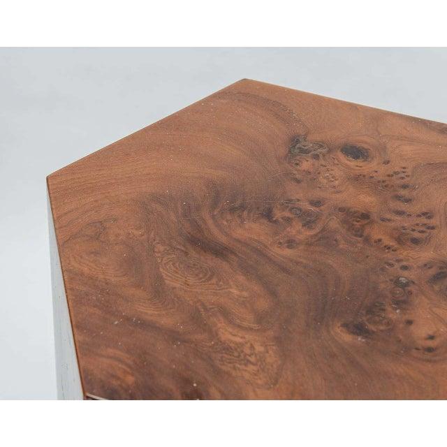 Hexagonal Burl Wood Pedestals - Set of 3 For Sale - Image 9 of 10