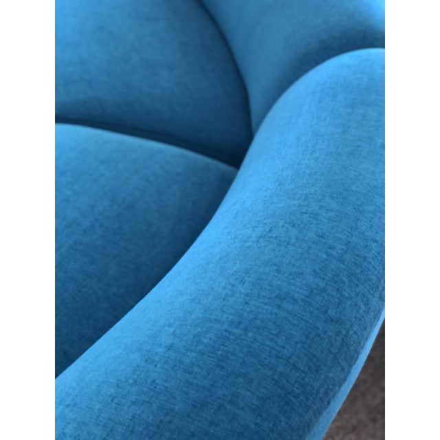 Vintage Turquoise Semi Circle Sofa - Image 4 of 9