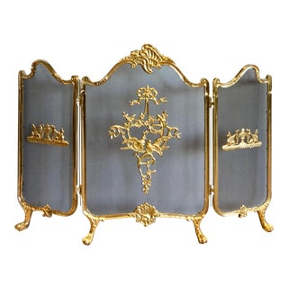 French Provincial Fully Cast Solid Brass Fireplace Screen For Sale