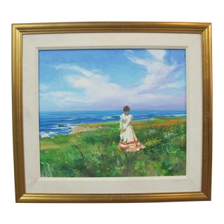 Late 20th Century Jack Fellows Original Oil Painting, Cambria Woman in Coastal Field of Flowers, Framed For Sale