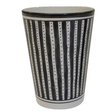 Black White Striped Ceramic Vase Chairish