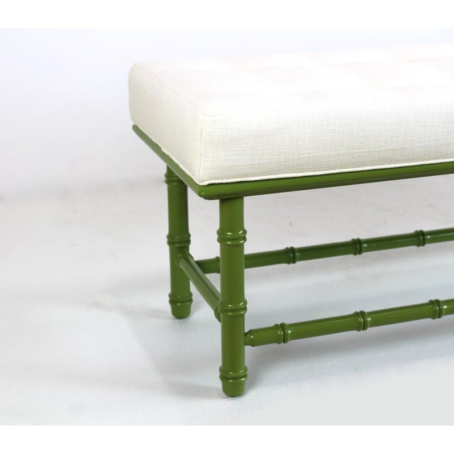 Faux Bamboo Mid Century Faux Bamboo Green Bench For Sale - Image 7 of 11