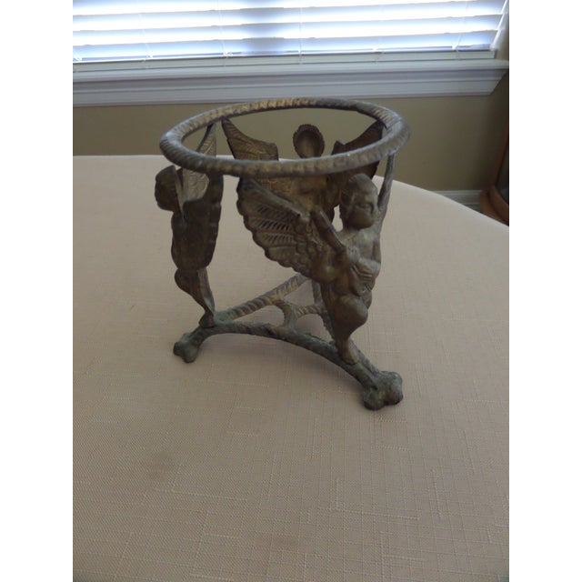 Vintage Solid Brass Display Stand With 3 Cherubs, Loin's Feet and Braided Round Top For Sale - Image 4 of 8