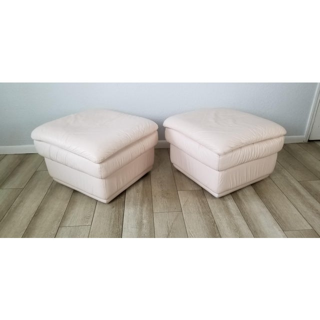 80s Italian Postmodern Style Leather Ottomans. - a Pair For Sale - Image 13 of 13
