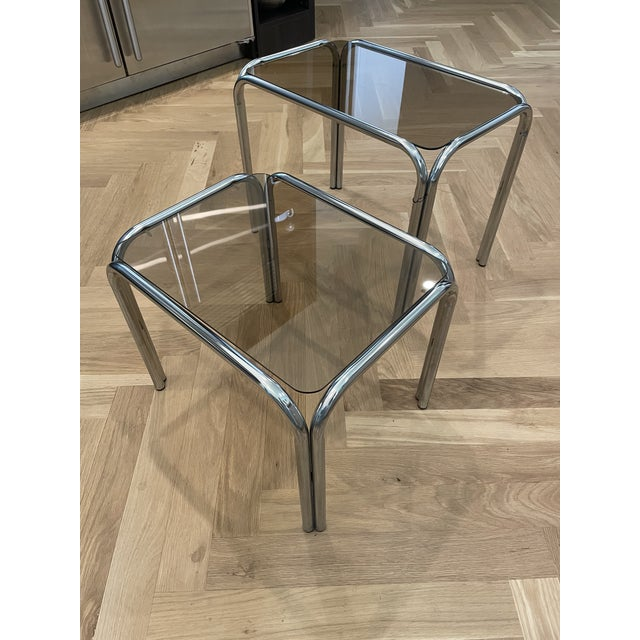 1970s Chrome and Smoked Glass Nesting Tables - Set of 2 For Sale In Charlotte - Image 6 of 7