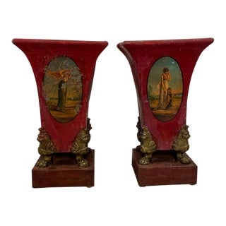 Antique French Tole Vases Circa 1820 - a Pair For Sale