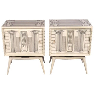 Pair of Architectural Hand Painted End Tables For Sale