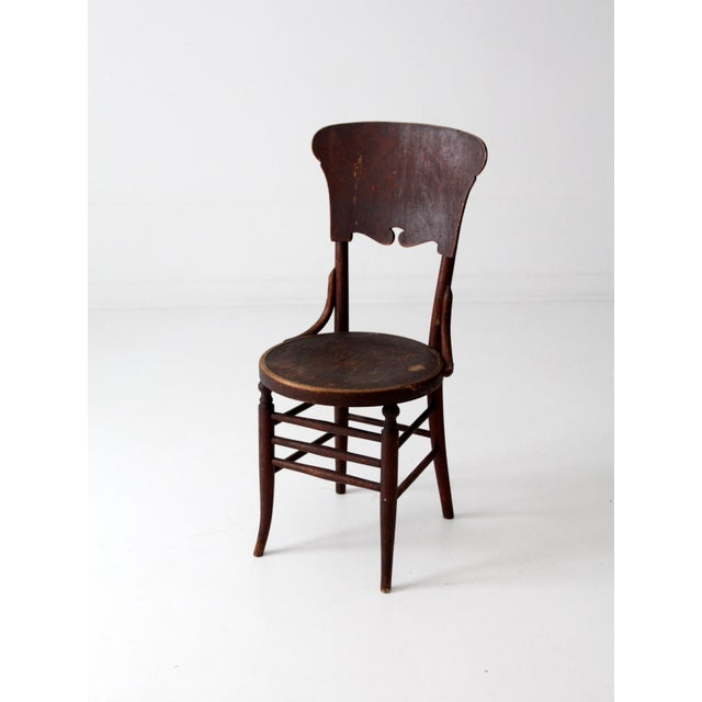 Wood Antique Round Seat Chair For Sale - Image 7 of 8