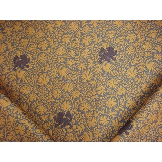 Traditional Lee Jofa Mulberry Home Proud Lions Weave Blue Gold Upholstery Fabric - 15-1/2y For Sale
