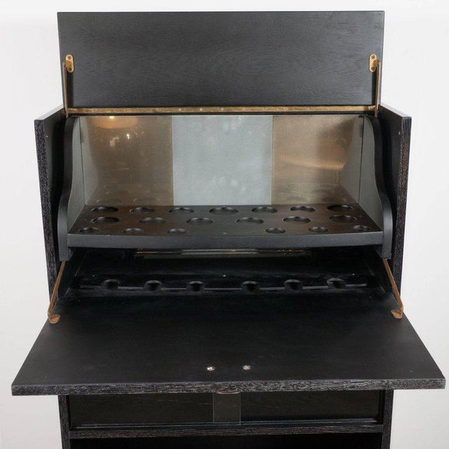 1950s Mid-Century Modern Silver Cerused Oak Dry Bar with Nickeled Pulls For Sale - Image 5 of 11