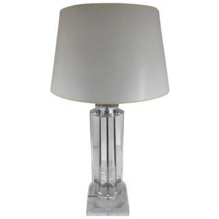 Tall Lucite Column Table Lamp For Sale