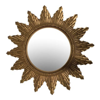 1940's Convex Mirror in a Carved Starburst Frame For Sale